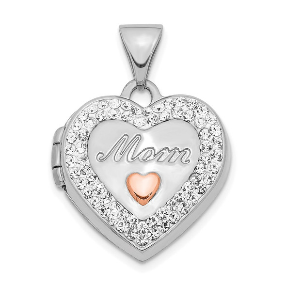 14k White Gold w/ Pink Rhodium Plated and Crystal 16mm Mom Heart Locket Pendant