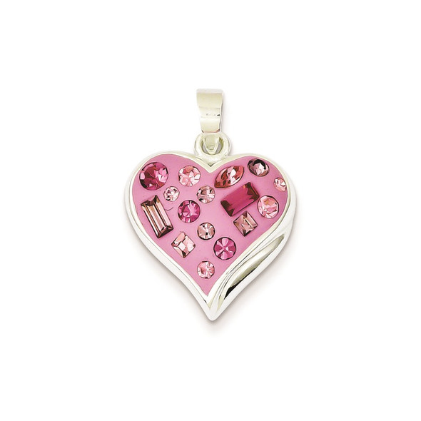 Sterling Silver Pink Stellux Crystal & Enameled Heart Pendant