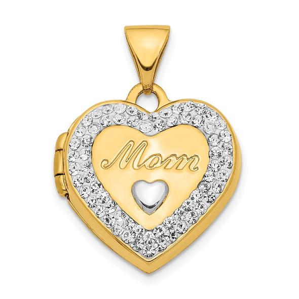 14k Yellow Gold w/White Rhodium Crystal 16mm Mom Heart Locket Pendant