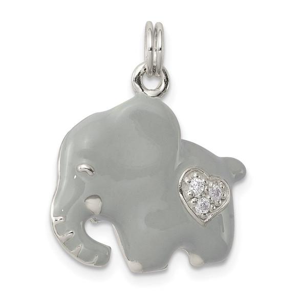 Sterling Silver CZ Grey Enameled Polished Elephant Charm