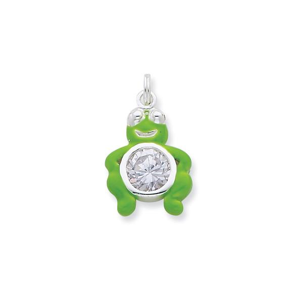 Sterling Silver CZ Green Enameled Polished Frog Charm