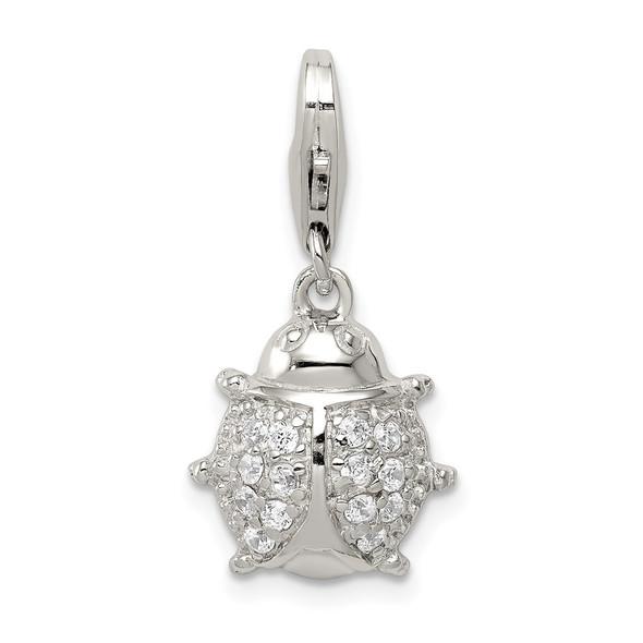 Sterling Silver CZ Ladybug Charm