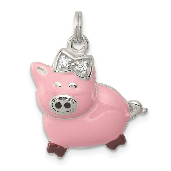 Sterling Silver CZ Pink Enameled Polished Pig Charm