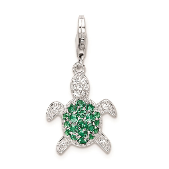 Rhodium-Plated Sterling Silver Green and Clear CZ Turtle w/ Lobster Clasp Charm