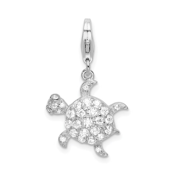 Rhodium-Plated Sterling Silver CZ Sea Turtle w/Lobster Clasp Charm