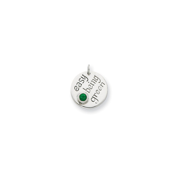 Sterling Silver Easy Being Green CZ Charm