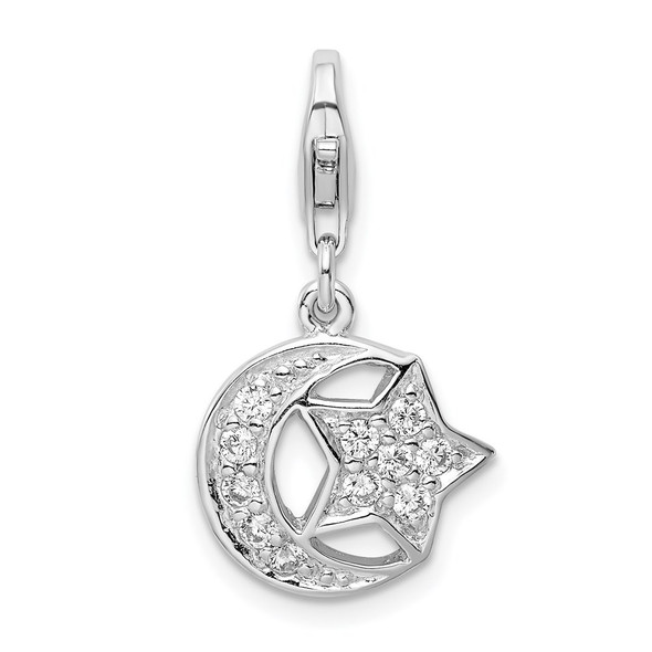 Rhodium-Plated Sterling Silver Polished w/CZ Moon and Star Lobster Clasp Charm