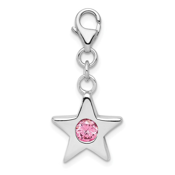 Sterling Silver Rhodium-Plated CZ Simulated October Birthstone Star Charm