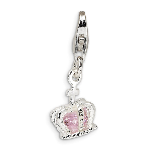 Rhodium-Plated Sterling Silver 3-D CZ Crown w/Lobster Clasp Charm
