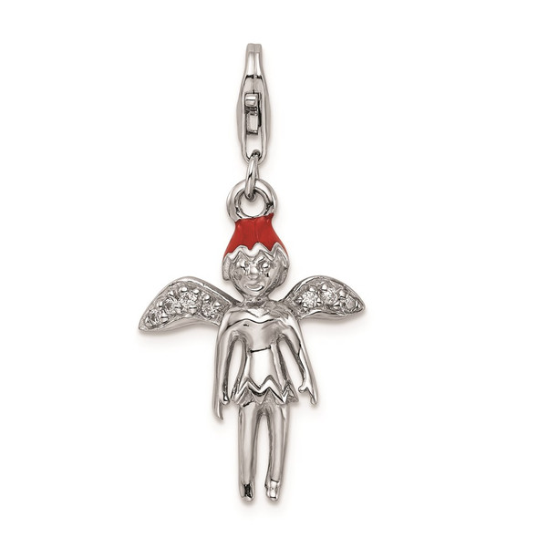 Rhodium-Plated Sterling Silver Enameled w/CZ 3D Fairy Lobster Clasp Charm