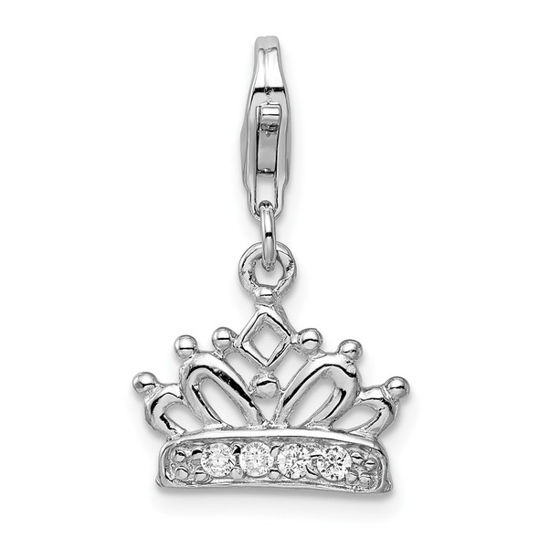 Rhodium-Plated Sterling Silver CZ Crown w/Lobster Clasp Charm