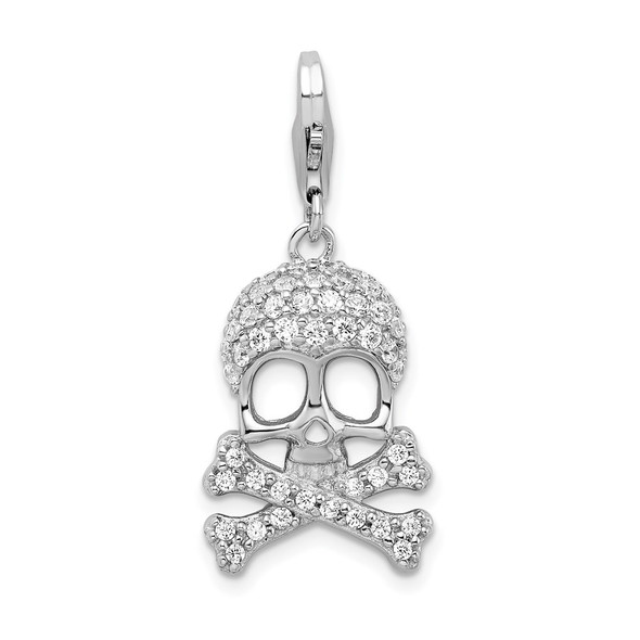 Rhodium-Plated Sterling Silver CZ Skull and Cross Bones w/Lobster Clasp Charm