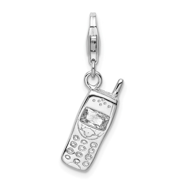 Rhodium-Plated Sterling Silver Polished Cell Phone w/CZ Lobster Clasp Charm