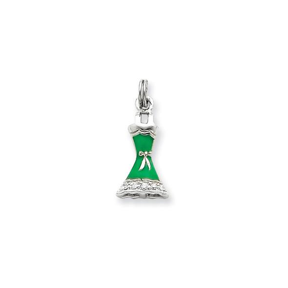 Sterling Silver CZ & Green Enameled Dress Charm