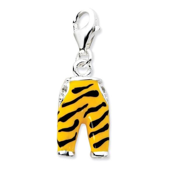 Sterling Silver Click-on CZ Enamel Tiger Pants Charm QCC583