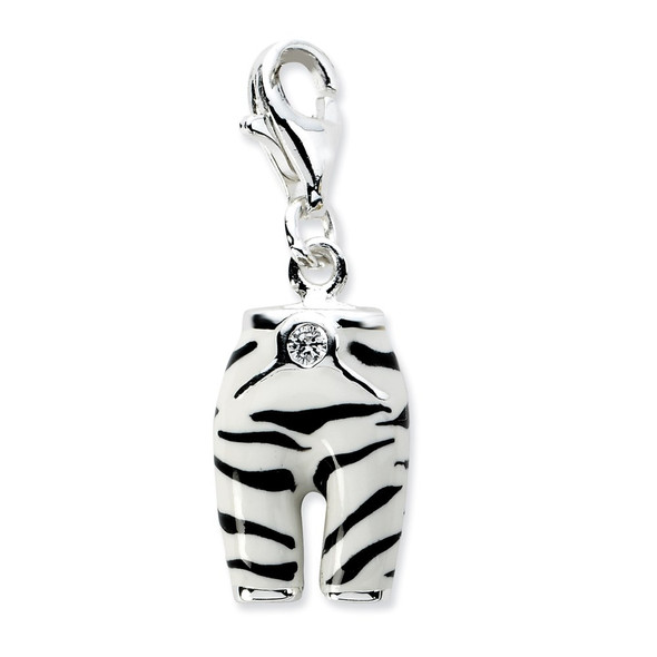 Sterling Silver Click-on CZ Enamel Zebra Pants Charm