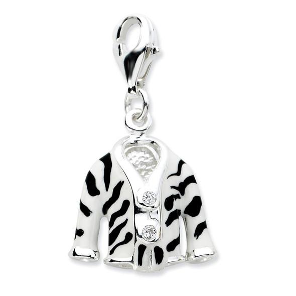 Sterling Silver Click-on CZ Enamel Zebra Jacket Charm