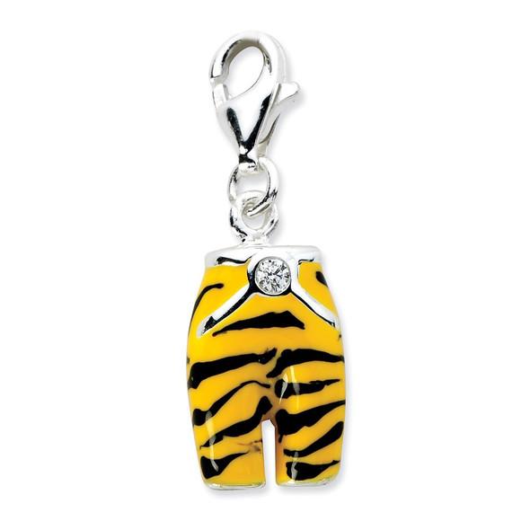 Sterling Silver Click-on CZ Enamel Tiger Pants Charm QCC572