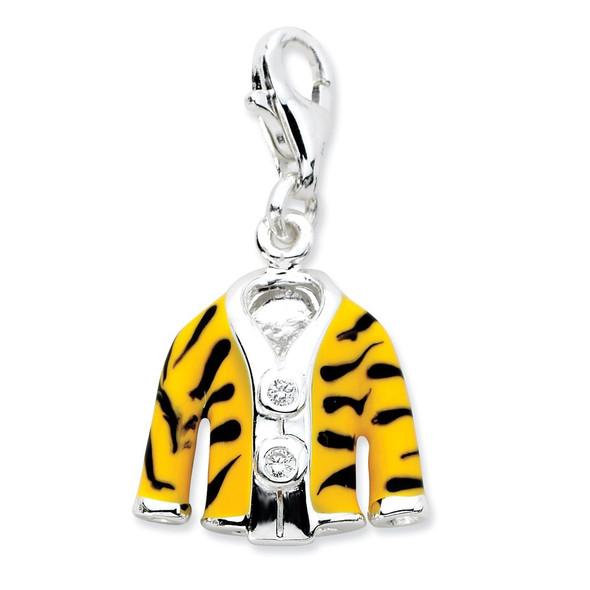 Sterling Silver Click-on CZ Enamel Tiger Jacket Charm