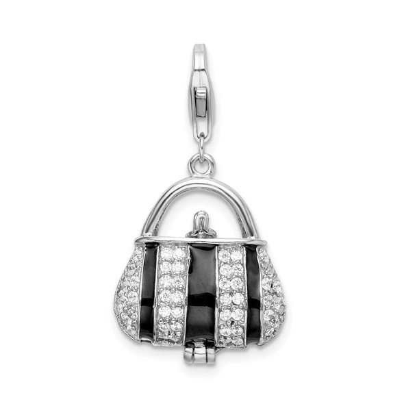 Rhodium-Plated Sterling Silver Black Enameled CZ Handbag w/Lobster Clasp Charm