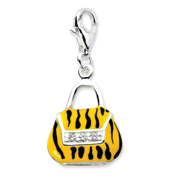 Sterling Silver Click-on CZ Enamel Tiger Purse Charm
