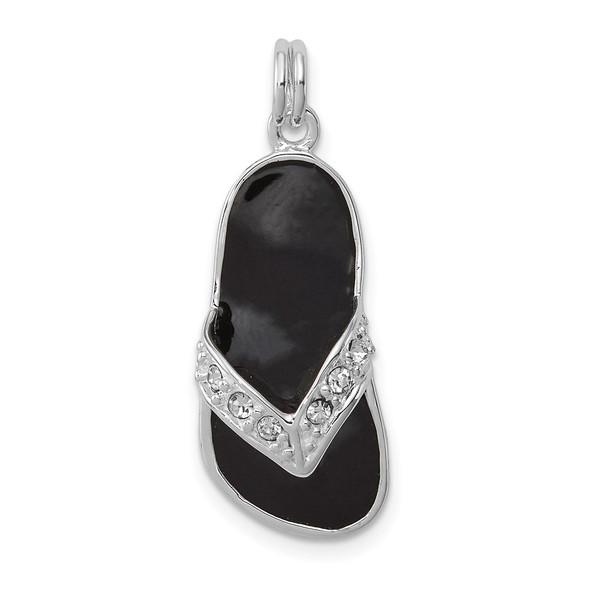 Sterling Silver Black Enameled CZ Flip Flop Charm