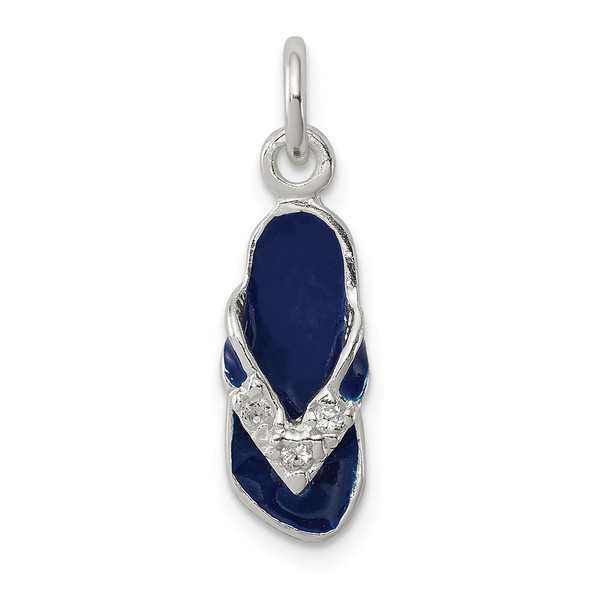 Sterling Silver CZ and Blue Enameled Flip Flop Charm