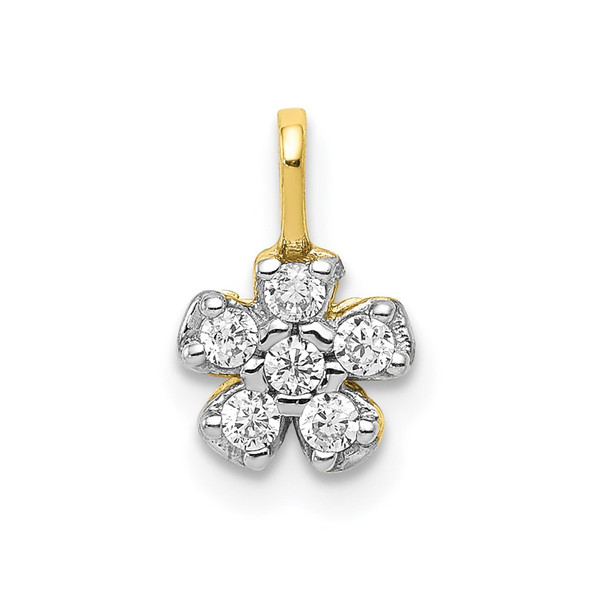 10k Yellow Gold Small CZ Flower Charm 10C990