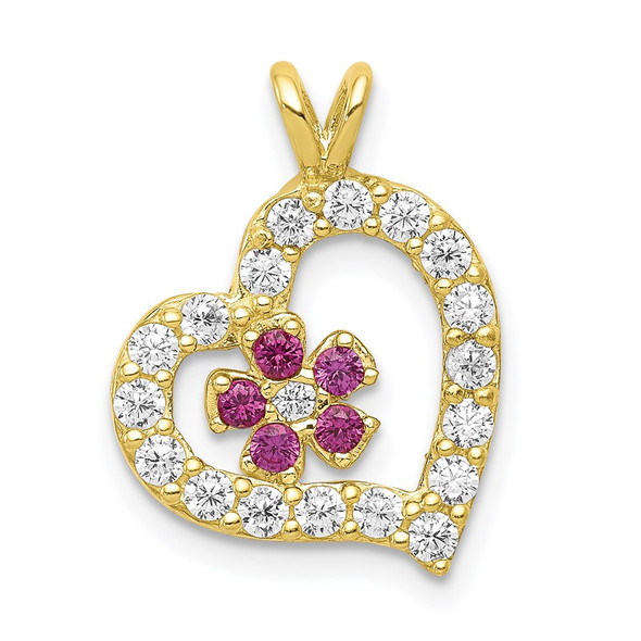10k Yellow Gold CZ Heart and Flower Charm 10C920