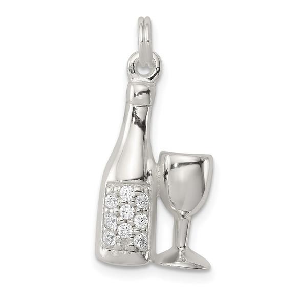 Sterling Silver CZ Wine/Champagne Bottle/Glass Charm Pendant