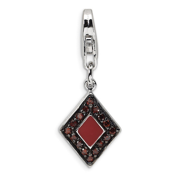 Sterling Silver CZ and Enameled Kite-Shaped w/ Lobster Clasp Charm