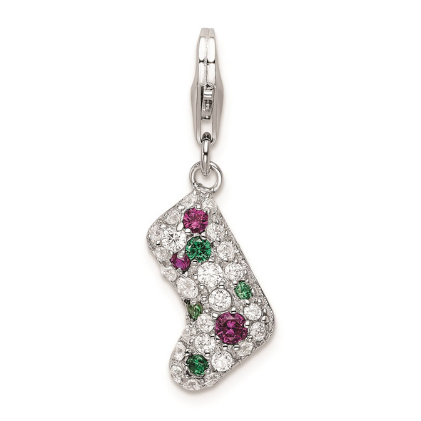 Rhodium-Plated Sterling Silver Multicolor CZ Stocking w/Lobster Clasp Charm