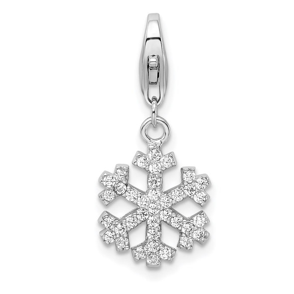 Rhodium-Plated Sterling Silver CZ Snowflake w/Lobster Clasp Charm