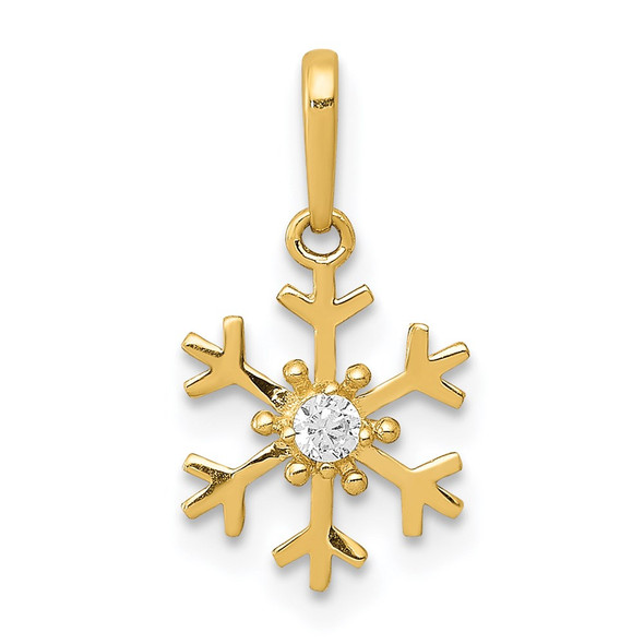 14k Yellow Gold Polished CZ Snowflake Charm