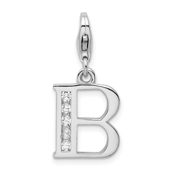 Rhodium-Plated Sterling Silver CZ Letter B w/Lobster Clasp Charm QCC104B