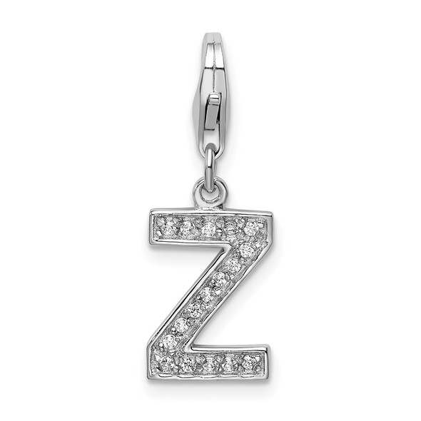 Rhodium-Plated Sterling Silver CZ Letter Z w/Lobster Clasp Charm QCC105Z