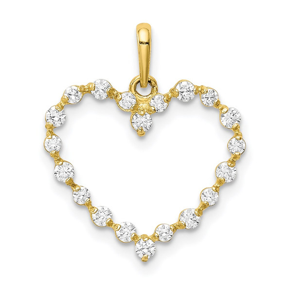 10k Yellow Gold CZ Heart Charm 10YC397