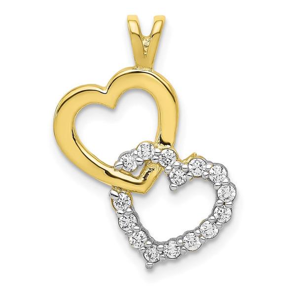 10k Yellow Gold CZ Heart Charm 10C924
