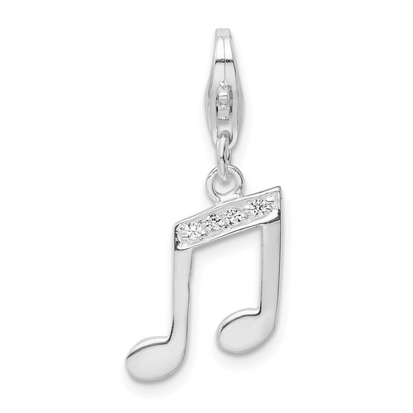 Rhodium-Plated Sterling Silver With CZ Music Note Lobster Clasp Charm