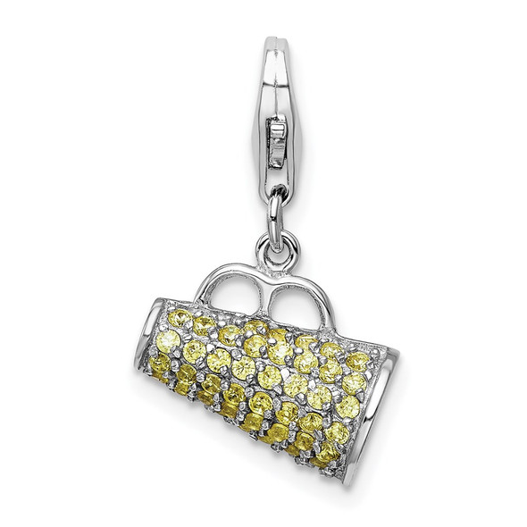 Sterling Silver Polished w/Yellow CZ 3D Megaphone w/Lobster Clasp Charm