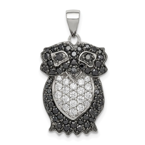 Sterling Silver Black & White CZ Owl Pendant