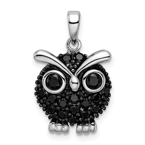 Sterling Silver Black Rhodium Black CZ Owl Pendant