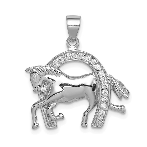 Mens Sterling Silver Horse and Horseshoe CZ Pendant