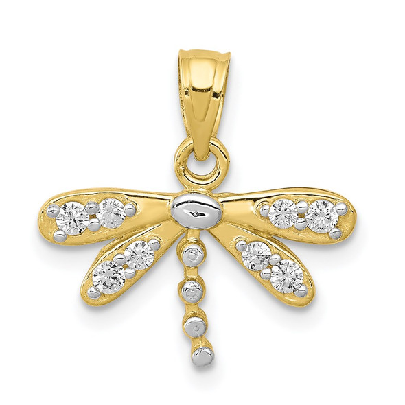10k Yellow Gold With Rhodium-Plating CZ Dragonfly Pendant