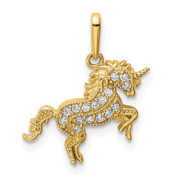 14k Yellow Gold Rearing Unicorn CZ Pendant