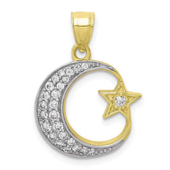 10k Yellow Gold With Rhodium-Plating CZ Moon And Star Pendant