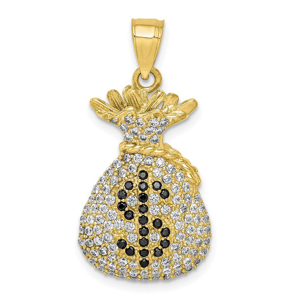 10k Yellow Gold Black and Clear CZ Micropave Money Bag Pendant
