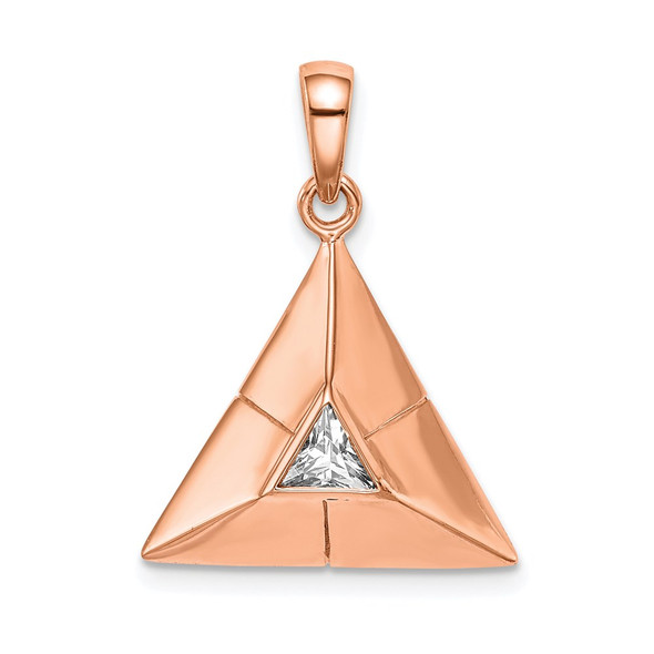 Rose Gold-Plated Sterling Silver Triangular Origami CZ Pendant