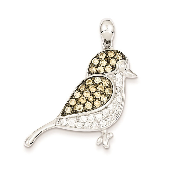 Sterling Silver Clear & Champagne CZ Bird Pendant