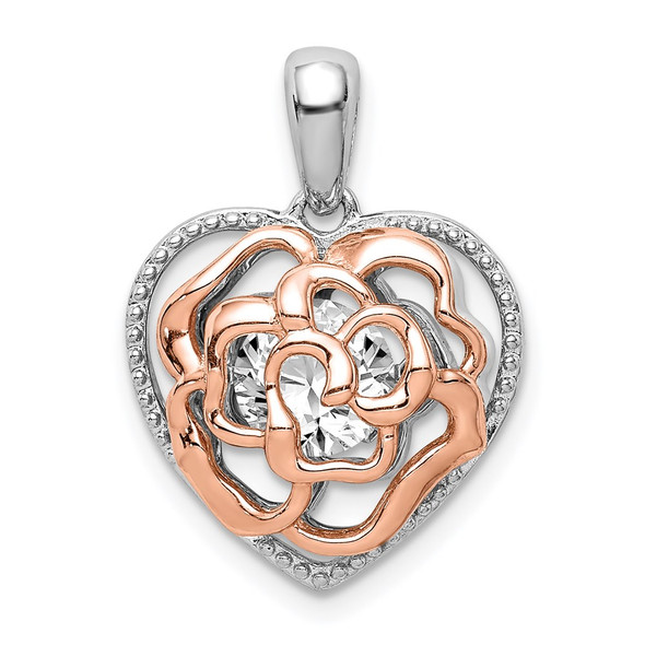 Sterling Silver Rhodium-plated and Rose-tone Heart w/ Vibrant CZ Pendant